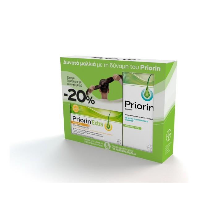 Priorin Extra 60 κάψουλες & Σαμπουάν Priorin για Κανονικά/Ξηρά Μαλλιά 200ml