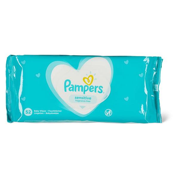 Pampers Senstitive Μωρομάντηλα για ευαίσθητο δέρμα, 52 τεμάχια