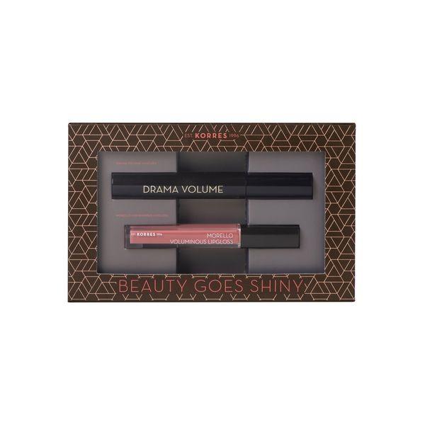 Korres Beauty Goes Shiny Drama Volume Mascara 01 Black 11 ml & Morello Lipgloss 16 Blushed Pink 4 ml