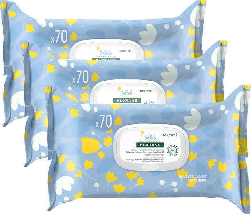 Klorane Bebe Καθαριστικά Μαντηλάκια σε συσκευασία 3x70τμχ