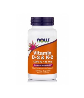 Now Vitamin D3 1000IU & K2 45 mcg 120caps