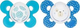 Chicco Πιπιλα Σιλικονης 6-16Μ (2Τμχ) Με Θηκη , Μπλε