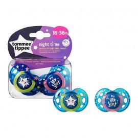 Tommee Tippee Night Time Πιπίλα Σιλικόνης Νύχτας 18-36 Μηνών 2τεμ. Prod.Ref.433341365