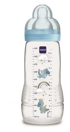 Mam Easy Active Baby Bottle Πλαστικό Μπιμπερό, Θηλή Σιλικόνης 4m+  Γαλάζιο 330ml