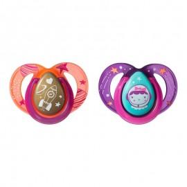 Tommee Tippee Night Time Πιπίλα Σιλικόνης Νύχτας 6-18 Μηνών Ροζ 2τεμ. Prod.Ref.43336285