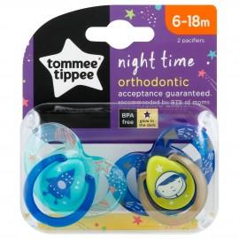Tommee Tippee Night Time Πιπίλα Σιλικόνης Νύχτας 6-18 Μηνών Μπλέ-Γαλάζιο 2τεμ. Prod.Ref.43336296