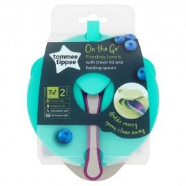 Tommee Tippee Feeding Bowl On the Go 7m+ 2 μπολ+καπάκι+κουτάλι