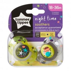 Tommee Tippee Night Time Πιπίλα Σιλικόνης Νύχτας 18-36 Μηνών 2τεμ. Prod.Ref.433341385