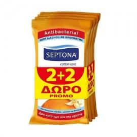 Septona Moisturizing Antibacterial Αντιβακτηριδιακά Μαντηλάκια Ανθός Πορτοκαλιού 2+2 Δώρο 15τμχ