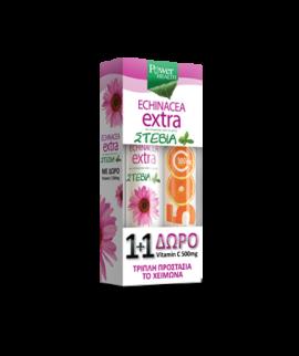 Power Health Echinacea Extra με Στέβια + ΔΩΡΟ Βιταμίνη C 500mg 20 αναβράζοντα δισκί