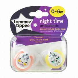 Tommee Tippee Night Time Πιπίλα Σιλικόνης Νύχτας 0-6 Μηνών Ροζ-Κίτρινο 2τεμ.Prod.Ref.43338040