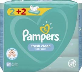 Pampers Fresh Clean (2+2 ΔΩΡΟ) Μωρομάντηλα με υπέροχο άρωμα φρεσκάδας, 4 x 52 τεμάχια