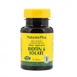 Natures Plus Biotin 2mg & Folic Acid 800mcg SR 30 tabs