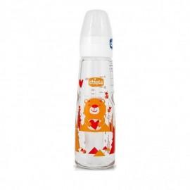 Chicco Simply Glass Μπιμπερό Γυάλινο Στενό Πορτοκαλί Αρκουδάκι ΘΣ Αργή Ροή 0m+ 240ml