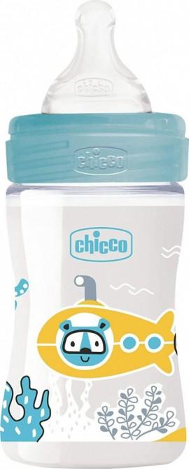 Chicco Well Being Πλαστικό Μπιμπερό Γαλάζιο ΘΣ Αργή Ροή 0m+ 150ml 28611-20