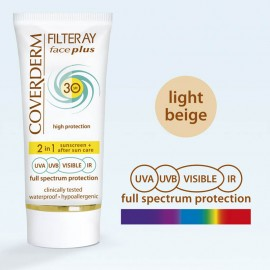 Coverderm Filteray Face Plus 2 in 1 Tinted Light Beige Normal Skin SPF30 50ml