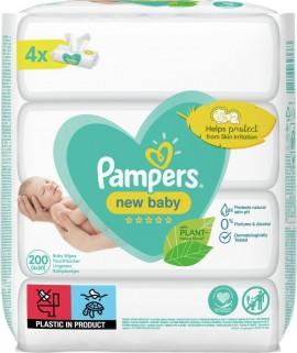 Pampers New Baby Sensitive (2+2 ΔΩΡΟ) Μωρομάντηλα 4 x 50 τεμάχια