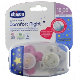 Chicco Physio Comfort Night Πιπιλα Σιλικονης 16-36Μ (2Τμχ) Με Θηκη , Ροζ-Μωβ