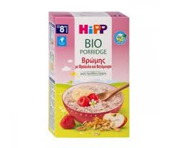 Hipp Κρέμα Βρώμης με Φράουλα & Βατόμουρο Χωρίς Ζάχαρη 8m+ 250gr