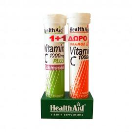 Health Aid Vitamin C 1000mg Plus Echinacea 20 eff.tab. & Vitamin C 1000mg Orange 20 eff.tab