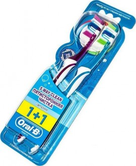 Oral-B Complete Clean 5 Way 1+1 40 Medium Οδοντόβουρτσα, 2 τεμάχια Μωβ-Μπλε