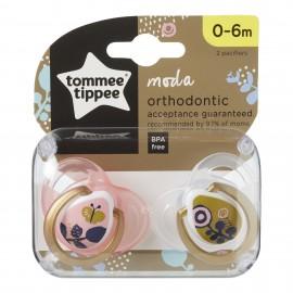 Tommee Tippee Moda Πιπίλα Σιλικόνης 0-6 Μηνών Ροζ 2τεμ. Prod.Ref.43338490