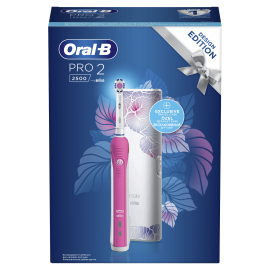 Oral-B Pro2 2500 Pink Design Edition Ηλεκτρική Οδοντόβουρτσα + ΔΩΡΟ Θήκη Ταξιδίου
