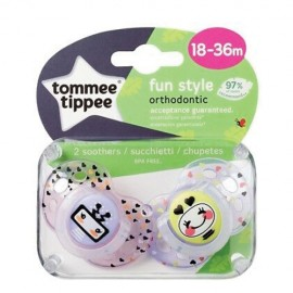 Tommee Tippee Fun Style Πιπίλα Σιλικόνης 18-36 Μηνών Ροζ 2τεμ.