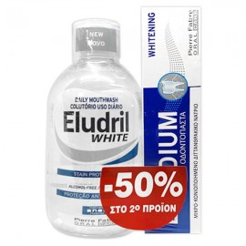 Elgydium Promo Eludril White Στοματικό Διάλυμα 500ml & Whitening Οδοντόκρεμα 75ml