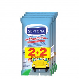 Septona Moisturizing Antibacterial Αντιβακτηριδιακά Μαντηλάκια Kids On The Go 2+2 Δώρο 15τμχ