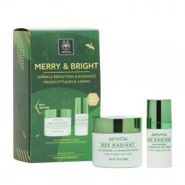 Apivita Merry & Bright Set Bee Radiant Κρέμα Πλούσιας Υφής & Κρέμα Ματιών 50ml+15ml