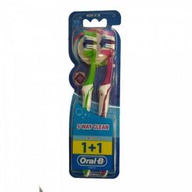Oral-B Complete Clean 5 Way 1+1 40 Medium Οδοντόβουρτσα, 2 τεμάχια Ροζ-Πράσινο