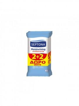 Septona Moisturizing Antibacterial Αντιβακτηριδιακά Μαντηλάκια 2+2 Δώρο 15τμχ