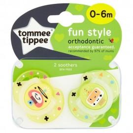 Tommee Tippee Fun Style Πιπίλα Σιλικόνης 0-6 Μηνών Πράσινο-Κίτρινο 2τεμ. Prod.Ref.43335785