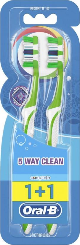 Oral-B Complete Clean 5 Way 1+1 40 Medium Οδοντόβουρτσα, 2 τεμάχια Πράσινο