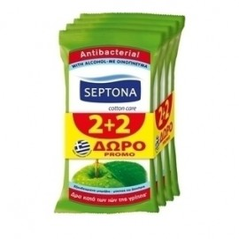 Septona Moisturizing Antibacterial Αντιβακτηριδιακά Μαντηλάκια Πράσινο Μήλο 2+2 Δώρο 15τμχ