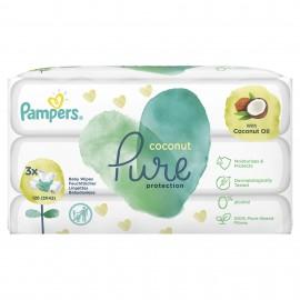 Pampers Wipes Pure Coconut Μωρομάντηλα με Άρωμα Καρύδας 3x42 ( 126Τμχ)