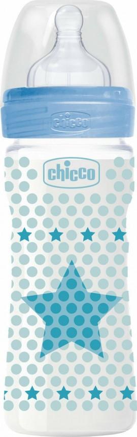 Chicco Well Being Πλαστικό Μπιμπερό Μπλε ΘΣ Κανονική Ροή 2m+ 250ml
