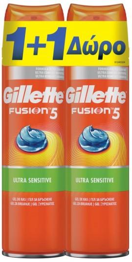 Gillette Fusion 5 Ultra Sensitive Shaving Gel 1+1  2 x 200ml