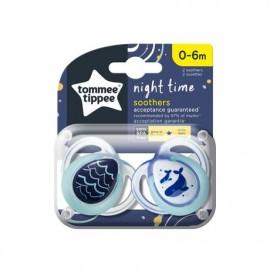 Tommee Tippee Night Time Πιπίλα Σιλικόνης Νύχτας 0-6 Μηνών Μπλέ- Γαλάζιο 2τεμ.Prod.Ref.43336102