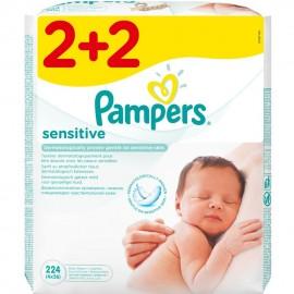 Pampers Sensitive Μωρομάντηλα 2+2 Δώρο 224τμχ (4x56)
