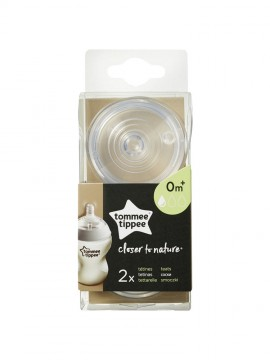 Tommee Tippee Θηλή Σιλικόνης Closer to Nature Αργή Ροή 0+ Μηνών x2