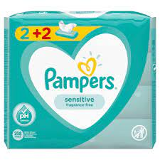 Pampers Sensitive Μωρομάντηλα 2+2 Δώρο 208τμχ (4x52)