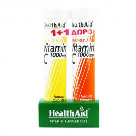 Health Aid Vitamin C 1000mg με Γεύση Πορτοκάλι 20tabs +20tabs ΔΩΡΟ με γεύση Λεμόνι