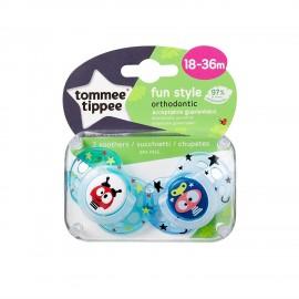 Tommee Tippee Fun Style Πιπίλα Σιλικόνης 18-36 Μηνών Γαλάζιο 2τεμ. Prod.Ref.433340565