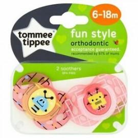 Tommee Tippee Fun Style Πιπίλα Σιλικόνης 6-18 Μηνών Ροζ 2τεμ.Prod.Ref.43335865