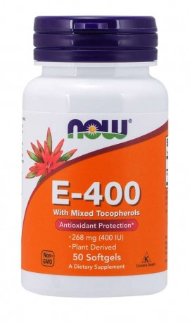 Now 400 E-400 IU Mixed Tocopherols 50 softgels