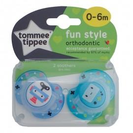 Tommee Tippee Fun Style Πιπίλα Σιλικόνης 0-6 Μηνών Γαλάζιο 2τεμ. Prod.Ref.43335785
