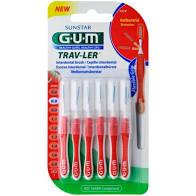 Gum Trav-ler Interdental Brush (1314) Μεσοδόντιο Βουρτσάκι 0.8mm Κόκκινο, 6τεμ