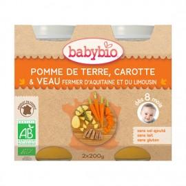 BABYBIO Γεύμα Μοσχάρι Γάλακτος με Λαχανικά +8μ (2x200γρ)